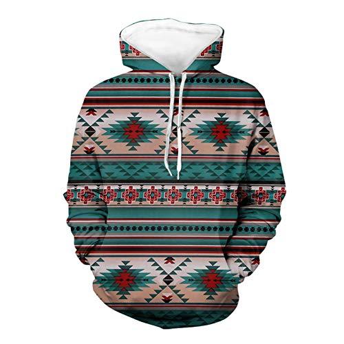 SEANATIVE Kapuzenpullover für Männer mit Designs 3D Geometrie Grafiken Native Aztec Print Sweatshirt Hoodies mit Taschen L
