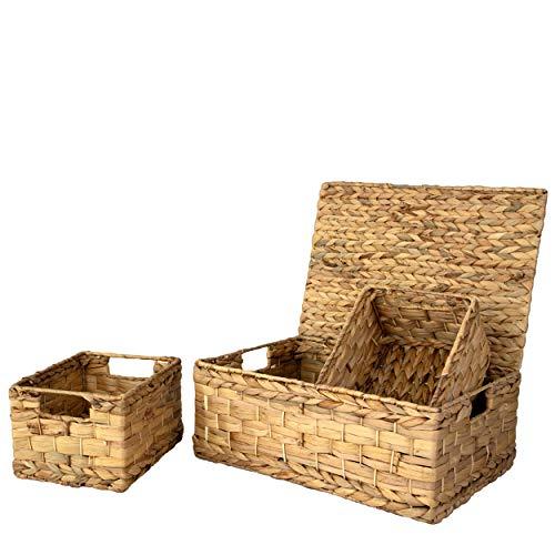 Juego 3 Cesta de mimbre con tapa y asa para organización y decoración del hogar,Cestas con tapa de mimbre para estantes con asas de inserción,Organizador tejido de alambre de paja para cocina,despensa