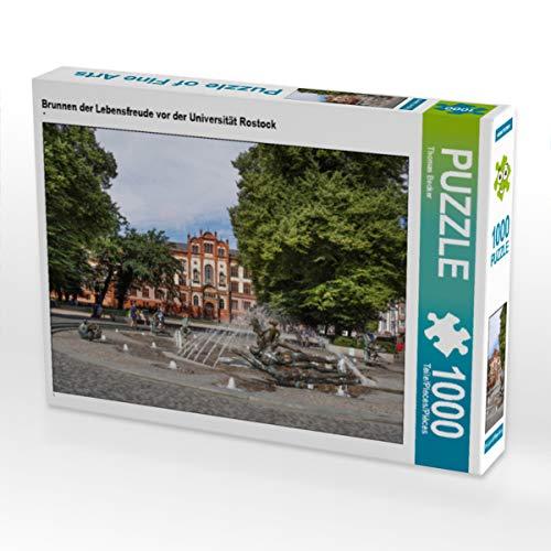 CALVENDO Puzzle Brunnen der Lebensfreude vor der Universität Rostock 1000 Teile Lege-Größe 64 x 48 cm Foto-Puzzle Bild von Thomas Becker