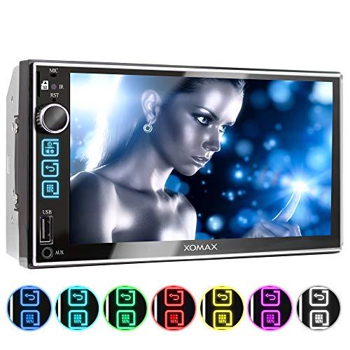 XOMAX XM-2V753 Autoradio mit 7 Zoll / 18cm Touchscreen Bildschirm I Bluetooth Freisprecheinrichtung I 7 Beleuchtungsfarben I FM, AUX, SD, USB I 2 DIN