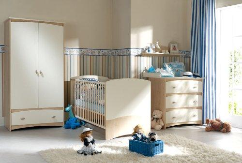 Babyzimmer Kinderzimmer CAPPUCCINO Babymöbel Set 4-teilig komplett Schrank 2-türig Babybett Wickelkommode Wandregal