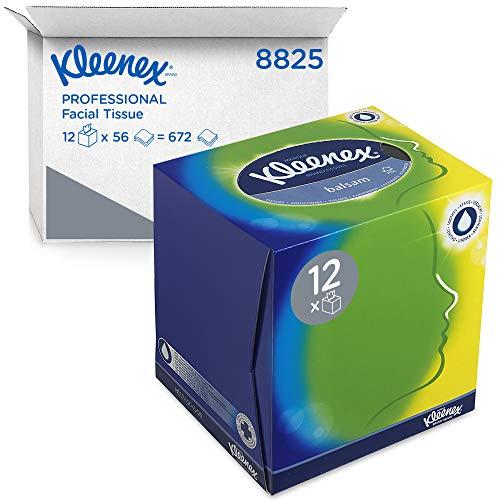Kleenex Balsam Facial Tissue Cube 8825 - 3 Ply Boxed Tissues - 12 Tissue Boxes x 56 White Facial Tissues (672 Sheets)