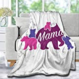 Lynnezilla Mama Bear Flannel Fleece Ultra Soft Throw Blanket   Fuzzy Warm Cozy Soft Blanket for Bedding Couch Bed Living Room Sofa Decor Gift Idea Large 80x60in for Adults