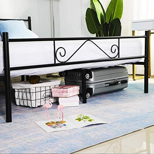 Aingoo Lit en métal Design Double 2 Places Cadre de lit avec lamelles Solides et Structure Métallique 140x190cm Noir