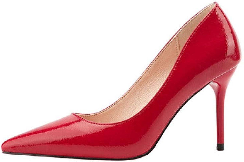 KTYXDE High Heels Simple Fashion Temperament Sexy Work shoes High Heels Single shoes High Heels 9CM Women's shoes (color   Red, Size   EU37 UK4.5-5 CN37)
