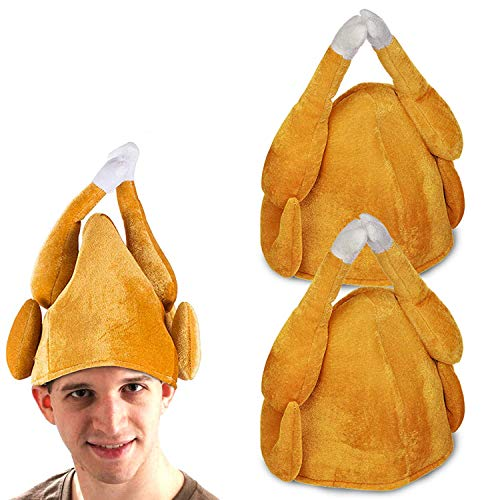 TOPLEE 2 Pack Thanksgiving Roasted Turkey Hat for Men Women Kids Plush Turkey Hat Costume Turkey Party Accessory Holiday Trot for Christmas Xmas Party Favors Supplies Brown, Large