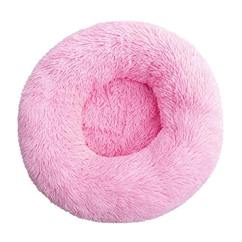 Cama para mascotas de lujo para gatos y perros pequeños y medianos, cojín redondo lavable para perros y gatos pequeños (diámetro de 80 cm), color rosa brillante