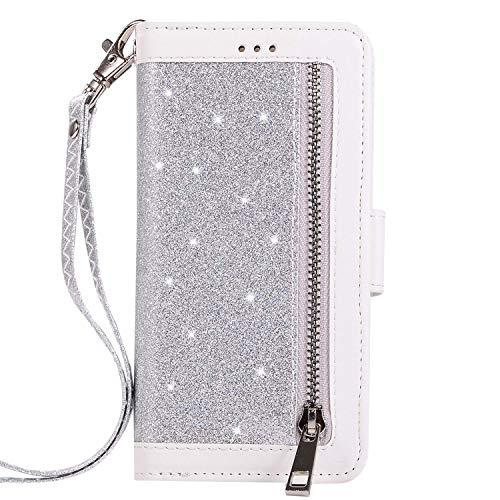 Jinghuash beschermhoes voor Samsung Galaxy A7 2018, flip case [9 kaartsleuven] zilver.