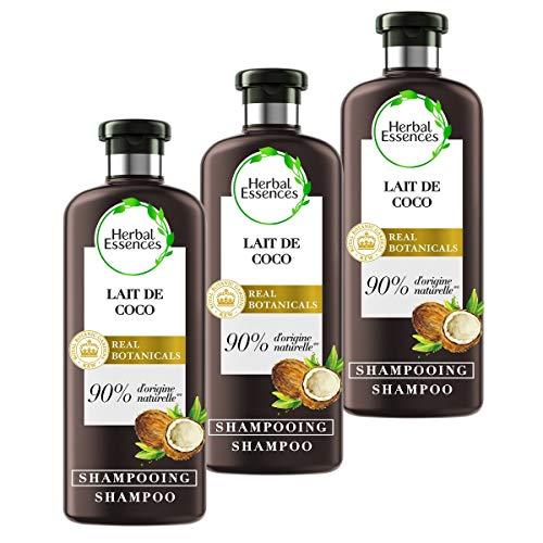 Herbal Essences Shampoing Pure Lait de Coco Hydratation, 90% d'ingrédients d'origine naturelle, sans Parabènes, sans Colorants, sans Silicones, sans Paraffine, lot de 250ml x3