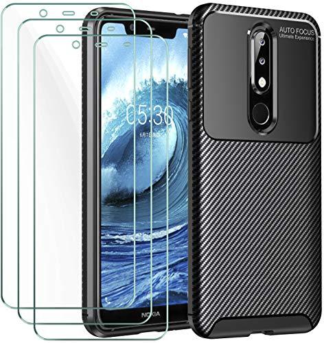 ivoler Hülle für Nokia 5.1 Plus, Handyhülle mit 3 Panzerglas Schutzfolie, Schwarz Stylisch Karbon Design Anti-Kratzer Stoßfest Schutzhülle Cover Weiche TPU Silikon Hülle