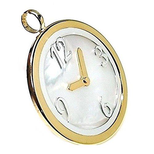 Colgante Plata Ley 925M 40mm. Reloj Piedra Nácar Láser Mujer
