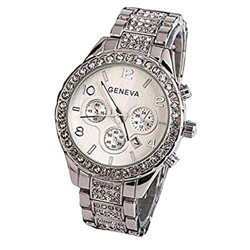 Fittingran Orologio al Quarzo con Cristallo Donna. Orologio con Calendario in Oro Rosa con Diamanti (Argento)