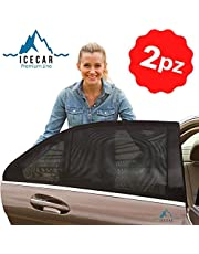 ICECAR Tendine Parasole Auto Bambini Originali - Nuovo Tessuto 130g/m² Premium Royal Stretch 2021 - Protezione Raggi solari UV, Insetti, Privacy - Misura Universale - 2 Pezzi