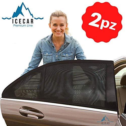ICECAR Tendine Parasole Auto Bambini Originali - Nuovo Tessuto 130g/m² Premium Royal Stretch 2020 - Protezione Raggi solari UV, Insetti, Privacy...