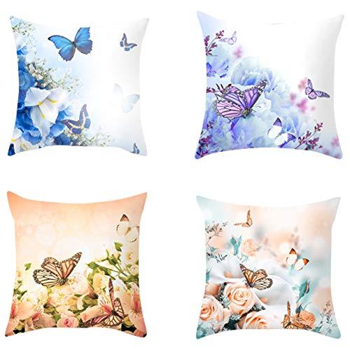 Gesh Funda de almohada romántica con diseño de mariposa, suave y decorativa, funda de cojín con estampado de flores