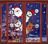 Tuopuda Natale Vetrofanie Finestra Sticker Murali da Parete Addobbi Statico Adesivi Finestra Vetrina Porta Sticker Fiocco di Neve Babbo Natale Bianco Alce Natale Addobbi Adesivi Decorazione