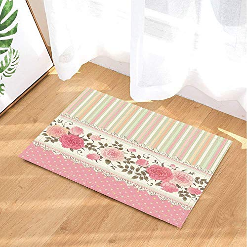 fuhuaxi Etnische stijl roze kant bad bad anti-slip antislip onderdeur, deurmat buiten, badmat 40x60 cm, badmat