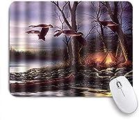 マウスパッド 個性的 おしゃれ 柔軟 かわいい ゴム製裏面 ゲーミングマウスパッド PC ノートパソコン オフィス用 デスクマット 滑り止め 耐久性が良い おもしろいパターン (マガモの飛行野生動物)