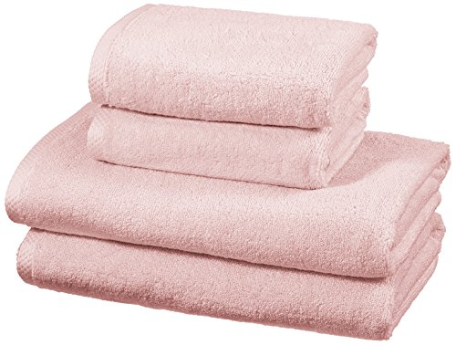 AmazonBasics - Handtuch-Set, schnelltrocknend, 2 Badetücher und 2 Handtücher - Blütenrosa, 100% Baumwolle