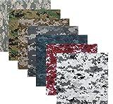 ARMYU Digital Camouflage 100% Cotton Military Bandanas Bundle (22' x 22'), 7 Pack