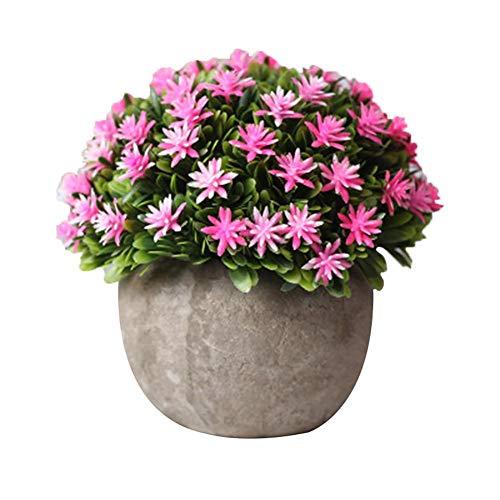 BIGBOBA Plantas Artificiales Plásticas de Maceta Pequeñas Flores Artificial Potted para Hogar Oficina Cocina Jardín Alféizar Balcón Decoración