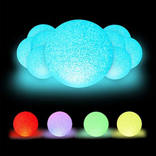 10 x LED Kugelleuchte, mit Farbwechsel, batteriebetrieben, ohne Kabel, für Innen, bunte Leuchtkugel, Ø 15 cm, weiß