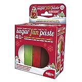 Pasta de azúcar para la decoración de Pasteles. Colores: Crema, Verde, Rojo y Marrón. 400 g