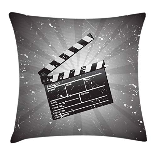 Ambesonne Movie Theater Throw Pillow Cushion Cover, Clapper Board on Retro Backdrop with Grunge Effect Director Cut Scene, Decorative Square Accent Pillow Case, 24 X 24 Inches, Grey Black White