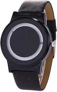 ZooooM シンプル 腕時計 メンズ 男性 フェイクレザー アクセサリー ファッション アナログ (ブラック&ホワイト) ZM-TOKE-707-BKWH