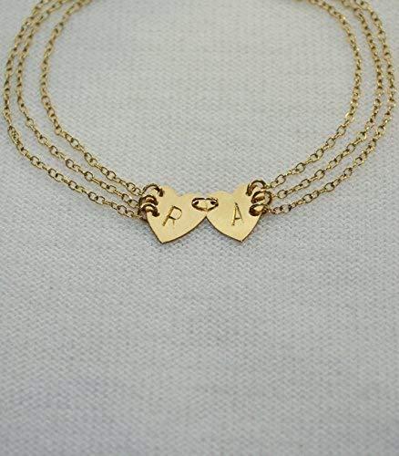 Personalized Jewelry Personalized Heart Bracelet Monogram Bracelet Initial Bracelet Stamped String Bracelet Custom Engraved Bracelet