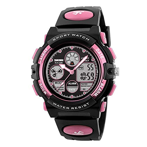 Girls Digital Watches Ages Age 5-15, Pink Digital Sports Waterproof Watches for Kids Birthday Presents Gifts for Girls Boys 5-12 Year Old Children Young Teen Electronic Watches with Alarm Stopwatch