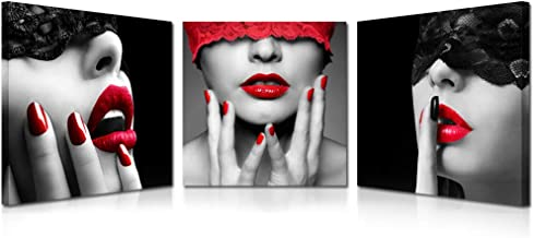 Kreative Arts 3 Piece Sexy Lips Prints Painting Morden Canvas Art Home Decoration Picture Wall Pictures for Living Room Black Red Framed Ready to Hang (12x12inchx3pcs)