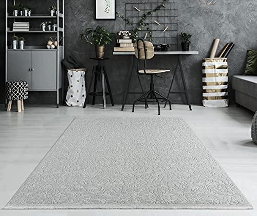 Daphne Alfombra moderna de pelo corto, lavable, efecto 3D, parte inferior antideslizante, diseño floral, gris, 80 x 250 cm
