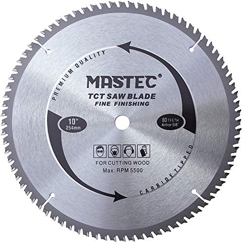 MASTEC 10 Inch 80T Table Saw Blade Fine Finishing for Wood Cutting with 5/8-Inch Arbor