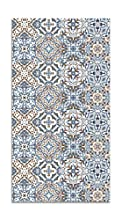 Panorama Alfombra Vinílica Baldosa Hidráulico Oriental Azul 80x150 cm - Alfombra Cocina Vinilo - Alfombra Salón Antideslizante e Ignífuga - Alfombras Grandes - Alfombras PVC
