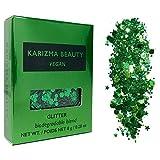 Vegan Biodegradable Chunky Glitter // Karizma Beauty Green Bio Glitter Eco Glitter Face Glitter Festival Chunky 10g