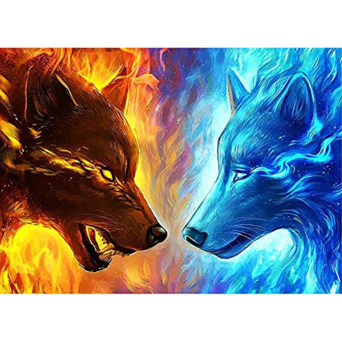 Bimkole 5D Diamond Painting Kits for Adults Ice Fire Wolf, Full Drill Animal DIY Rhinestone Embroidery Set Paint with Diamonds Art by Number Kits Cross Stitch Home Wall Craft Decoration (12x16inch)