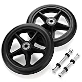 OwnMy 2PCS of 6 Inch Rubber Wheel Replacement Wheelchair Front Wheels Rollator Walker Anti-Slip Replacement Casters Rollers Wheels Universal Wheelchair Replacement Wheel Accessories, Black