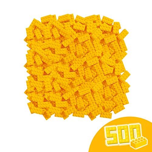 Simba 104118917 Blox, 500 gelbe Bausteine Made in Italy, 8er Steine, im Karton, incl.Füllbecher, höchste Qualität und 100 Prozent kompatibel mit bekannten Spielsteinen
