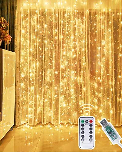 Kolpop Led-lichtsnoer, 3 x 3 m, lichtketting, met USB-ramen, met afstandsbediening, timer, 8 modi, waterval, lichtketting voor binnen en buiten, kerstversiering voor feest, bruiloft, warmwit