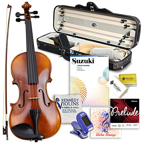 Antonio Giuliani Primo Violin Full Size (4/4) Bundle By Kennedy Violins - Carrying Case and Accessories Included - Solid Maple Wood and Ebony Fittings