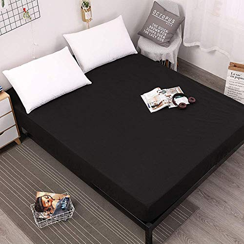 LU2000 Matratzenschoner für King-Size-Betten, hypoallergen, wasserdicht, Staubschutz, atmungsaktiv, Tagesdecke, Überwurf, Schwarz