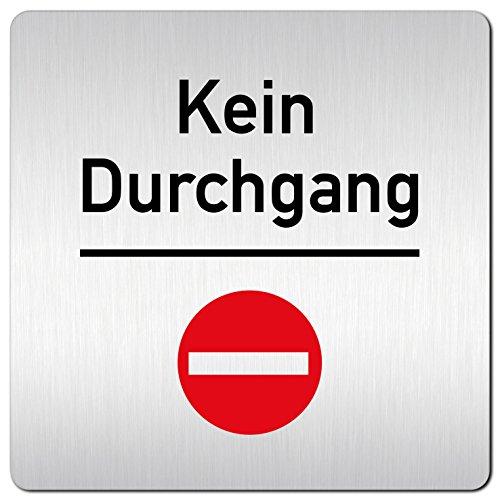 Kinekt3d Leitsysteme XXL Schild - Türschild • 125 x 125 mm • Kein Durchgang Rot Stop • 1,5 mm Aluminium Vollmaterial • 100% Made in Germany