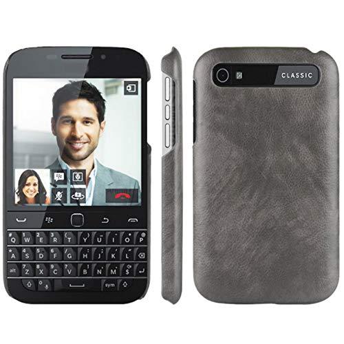 HualuBro Handyhülle für BlackBerry Classic Hülle, Retro PU Leder Ultra Slim Stoßfest Bumper Case Cover Schutzhülle Lederhülle Backcover für BlackBerry Classic Tasche (Grey)