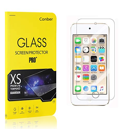 Conber (1 Pack) Screen Protector for iPod Touch 5th / iPhone 6th Generation, [Scratch-Resistant][Anti-Shatter] Tempered Glass Screen Protector for iPod Touch 5th / iPhone 6th Generation