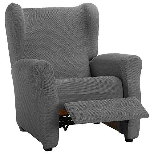 HIPERMANTA Funda sillón Relax elástica Modelo Aitana, 1 Plaza de 70-90 cm Ancho. Gris