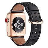 WFEAGL Kompatibel für Watch Armband 38mm 40mm 42mm 44mm, Lederband Ersatzband mit Edelstahl-Verschluss Kompatibel für Serie 6/5/4/3/2/1,SE(42mm 44mm, Schwarz+Roségold Adapter)