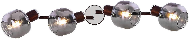 Deckenstrahler 4 Flammig Deckenlampe Flur Deckenleuchte Wohnzimmer (Rauch Glas, Deckenspot, Bronze Optik, 4 x E14, Beweglich)