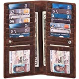 Wise Owl Stylish Bifold Long Slim Wallets - Real Leather RFID Handmade 2 ID Window Credit Card Holder for Men Women (Cognac, Crazy Horse)