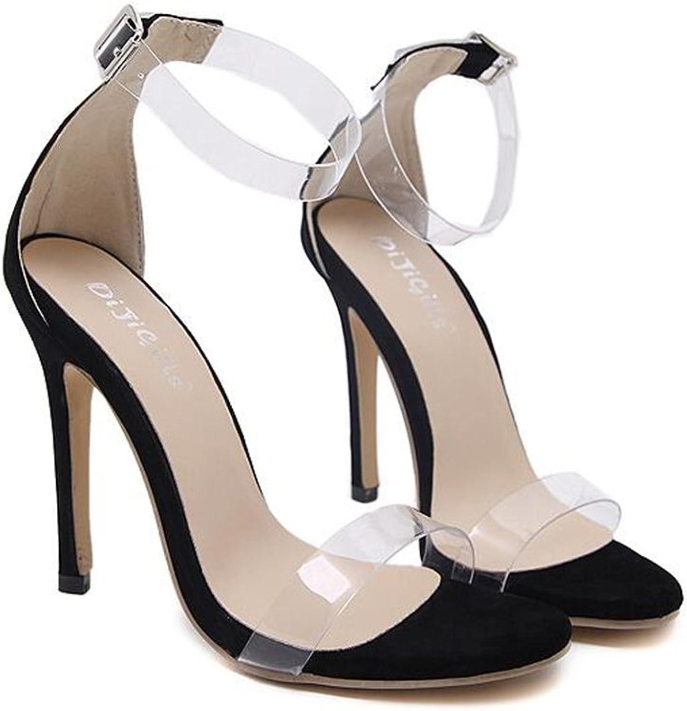 KAOKAOO Women's Open Toe Clear Cross Strappy High Heels Sandal